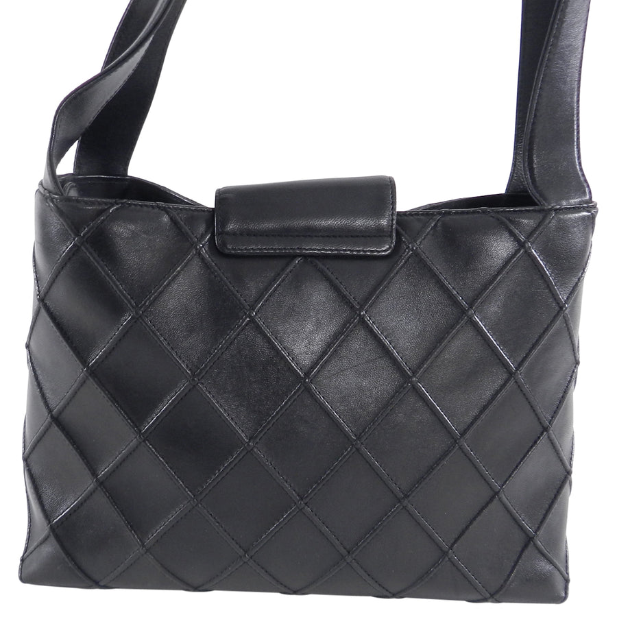 Chanel Cosmos Black Calf Leather Quilted Shoulder Bag