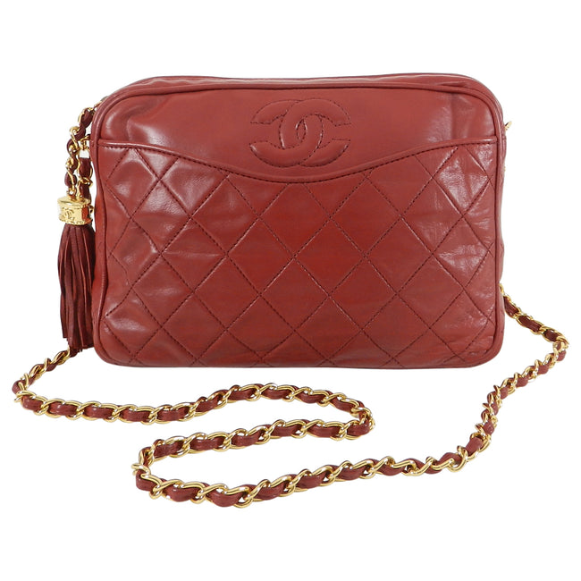 77c49e5f0bbb Chanel Vintage 1980's Red Quilted Lambskin CC Crossbody Bag