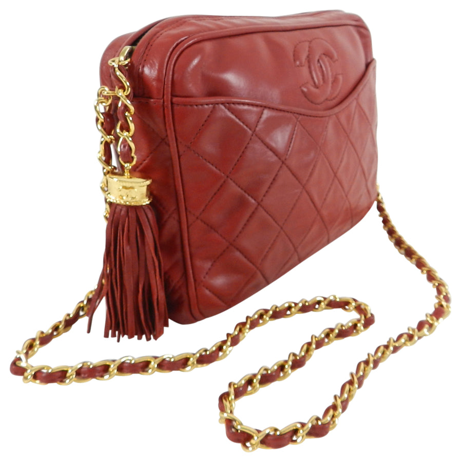 f45666a57b5622 ... Crossbody Bag; Chanel Vintage 1980's Red Quilted Lambskin CC Crossbody  ...