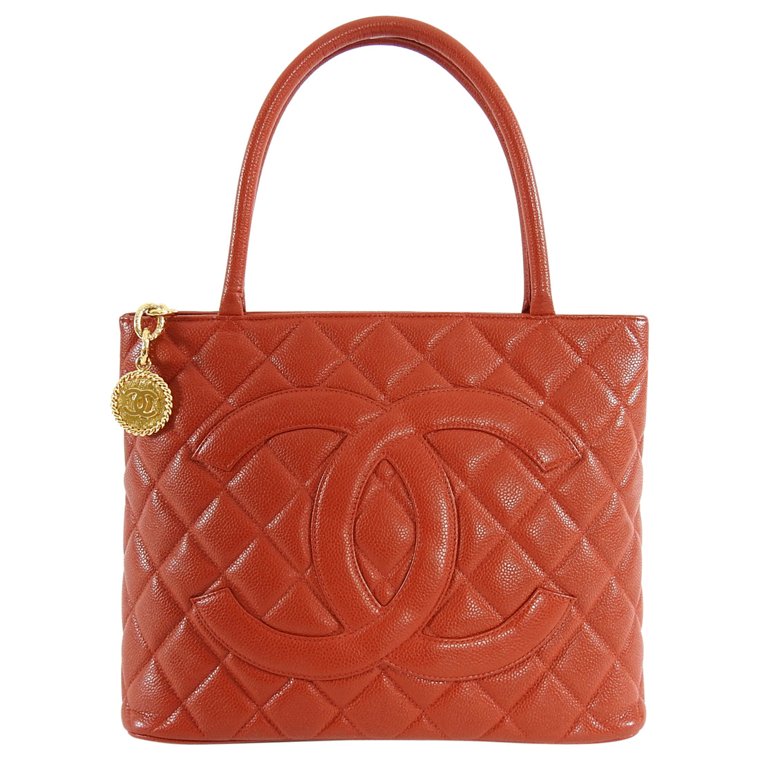 Chanel Vintage 1997 Red Caviar CC Medallion Tote Bag