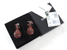 Chanel 20S Red Strass Tear Drop CC Earrings