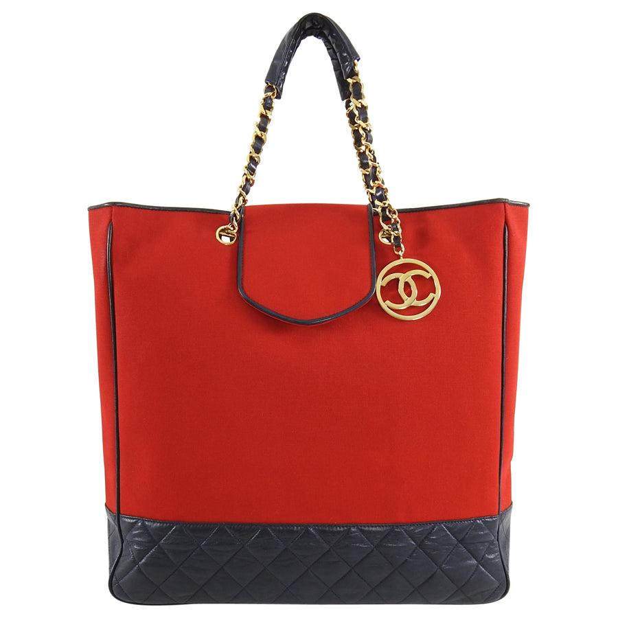 Chanel Vintage 1989 Red Canvas and Navy Leather Large Tote Bag