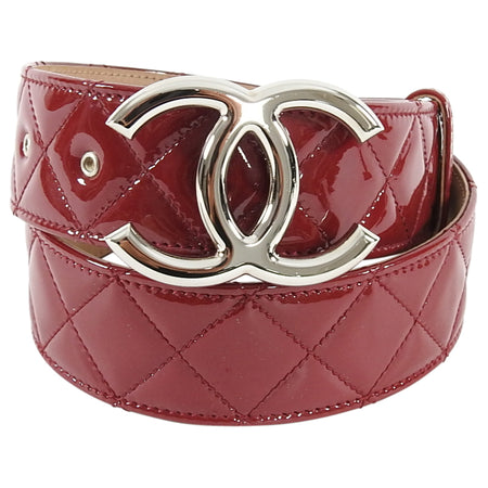 Chanel Dark Red Patent Leather Quilted CC Buckle Belt