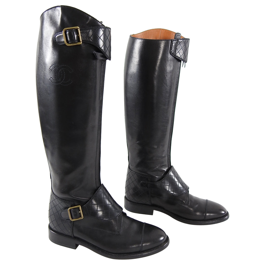 Chanel Tall Black Leather CC Quilt Riding Boots - 40.5
