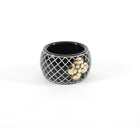 Chanel 10A Black White Resin CC Camelia Ring - 6