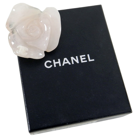 Chanel 02P Blush Resin Carved Rose Flower Brooch Pin