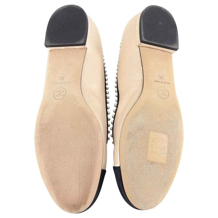 Chanel Beige and Black Satin Ballet Flats with Pearls and CC - 36