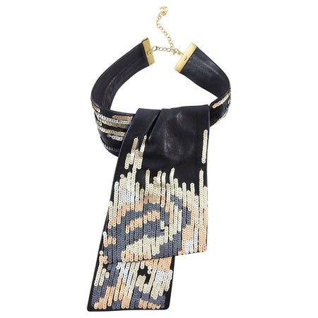 Chanel 00A Black Leather Sequin Necklace Ascot Scarf