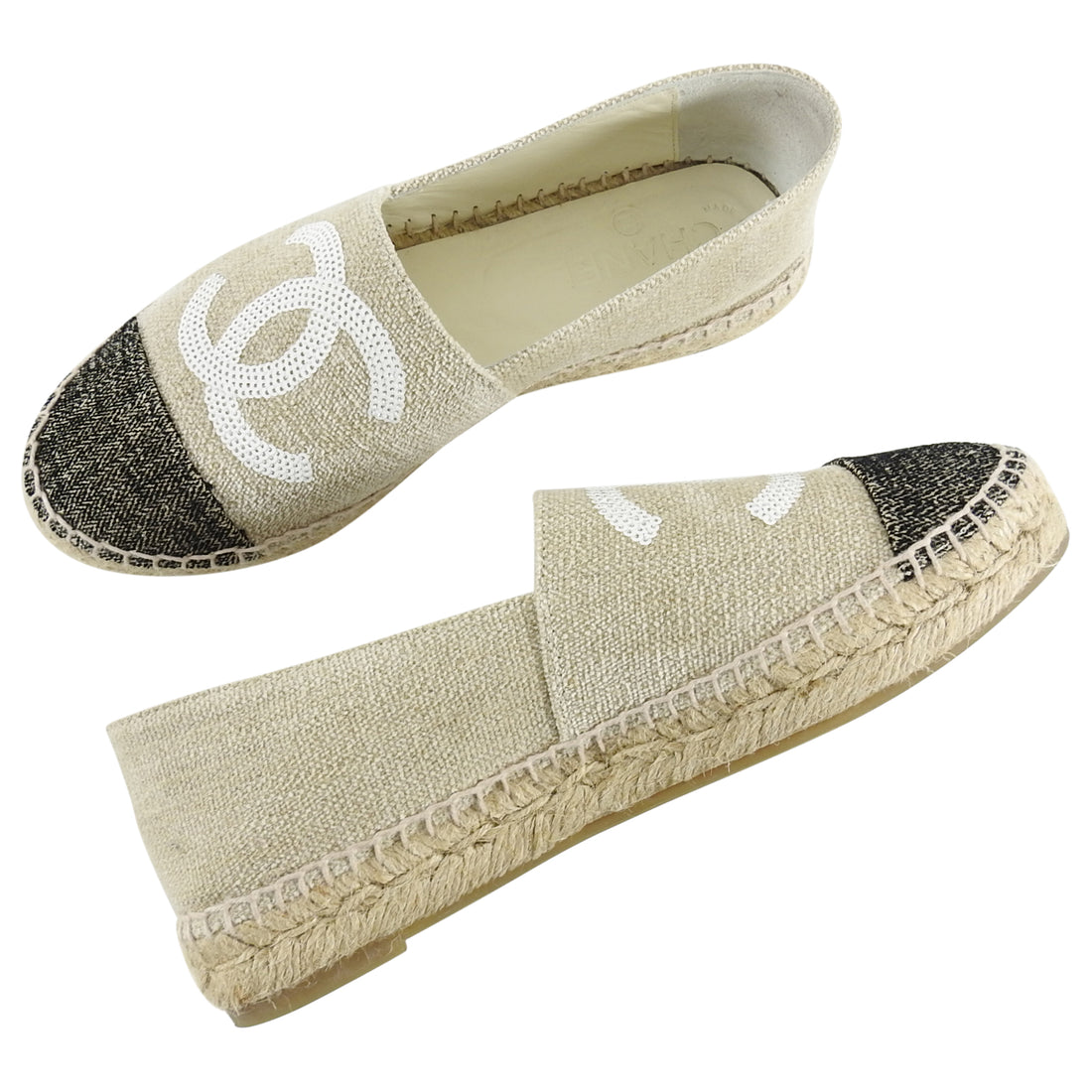 Chanel 16C Canvas Flat Espadrille with Sequin CC Logo - 36.5