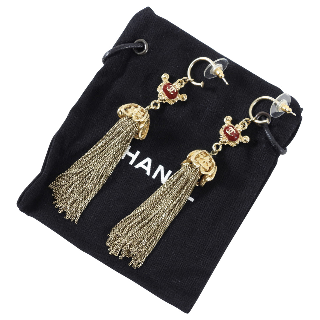 Chanel 10A Shanghai Gold and Red Fringe Tassel Earrings