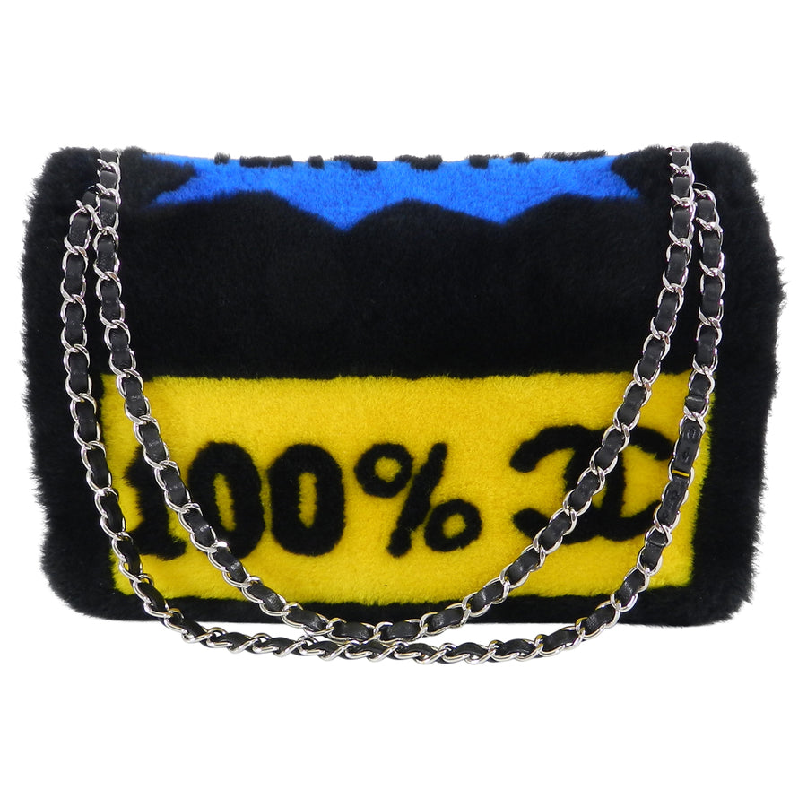 Chanel 14A Patchwork No. 5 Caption Comic Shearling jumbo flap bag