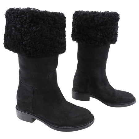 Chanel Black Shearling CC Logo Winter Boots - USA 8.5