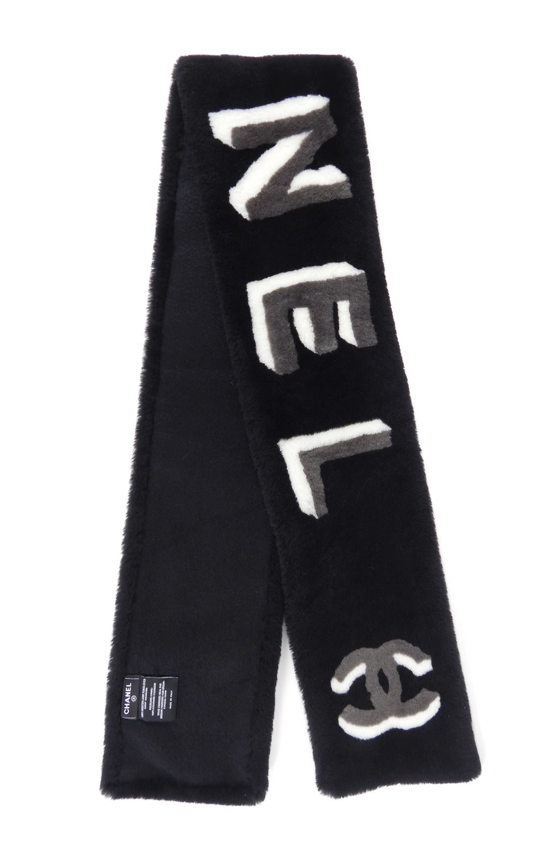 Chanel Fall 2020 Black and Grey Logo Shearling Scarf