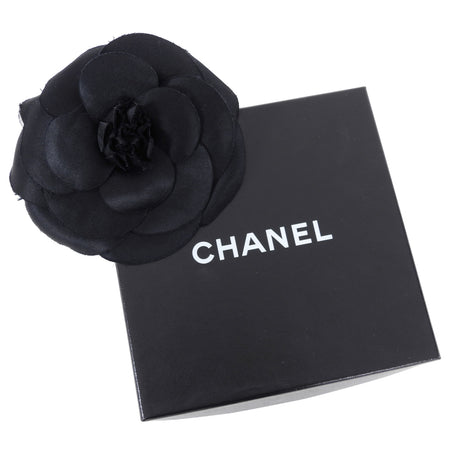 Chanel Vintage 1990's Extra Large Black Silk Camelia Flower Pin