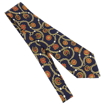 Chanel Navy and gold Charm Chain Design Silk tie