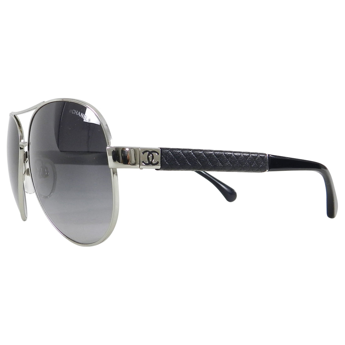 Chanel 4195 Silver Aviator Sunglasses in case