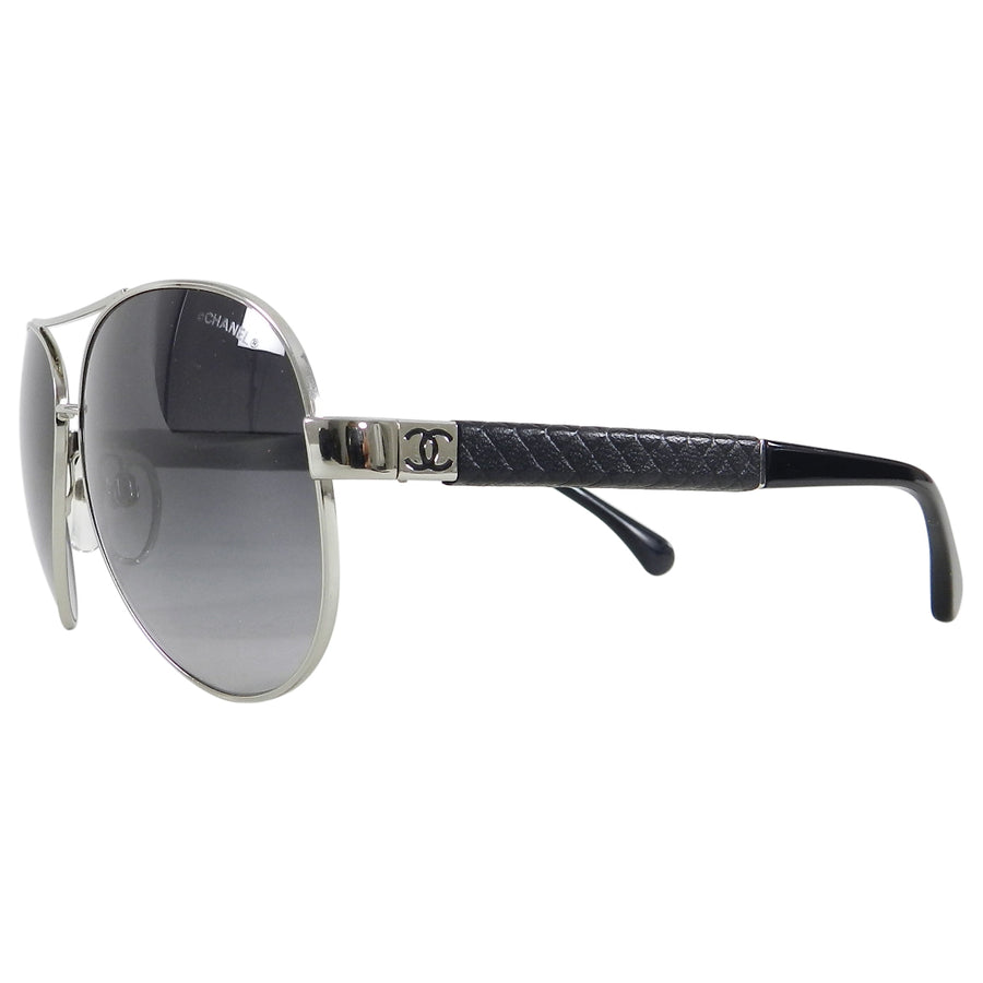 ee3520aa12b7 Chanel 4195 Silver Aviator Sunglasses in case – I MISS YOU VINTAGE