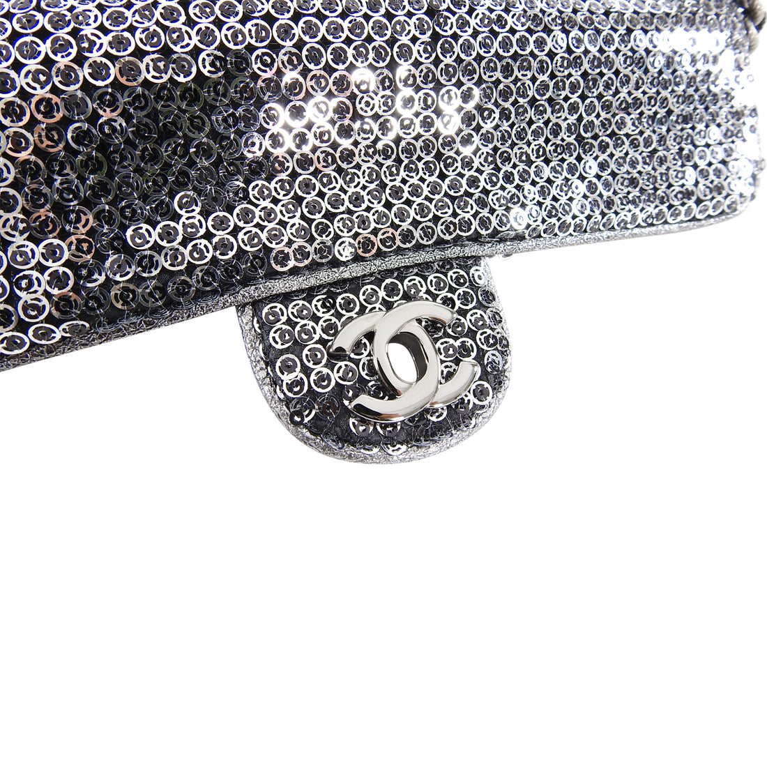 Chanel Silver Sequin Small East West Classic Flap Bag