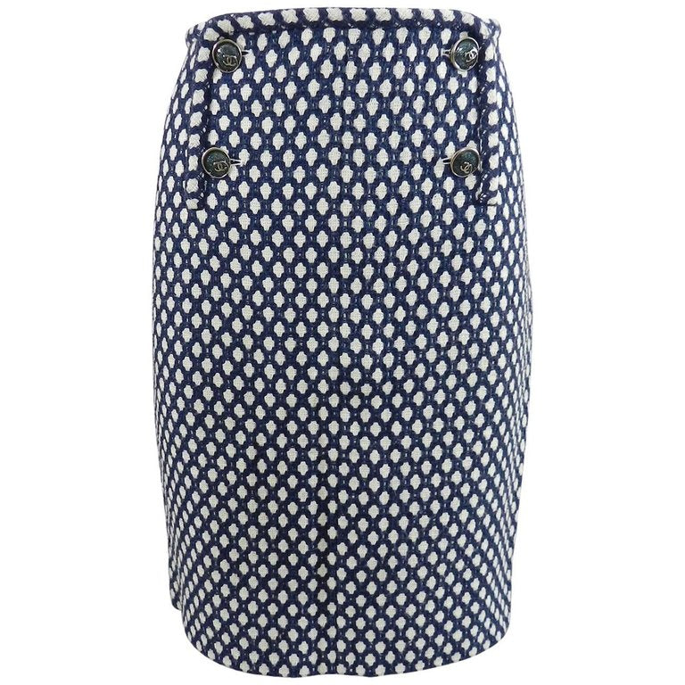 Chanel 08P Navy and White Pattern Mini Pencil Skirt