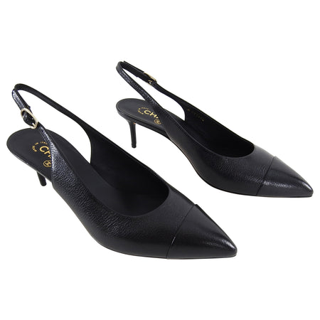 Chanel Black Leather Classic Cap Toe Slingback Heels - 10
