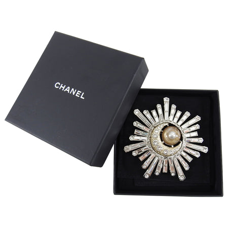 Chanel 17K Large Crystal Starburst Moon Comet Statement Pin
