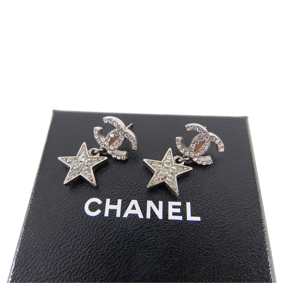 Chanel 08P Silver Crystal CC Star Drop Earrings