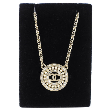Chanel 16P Goldtone Rhinestone Pendant Necklace