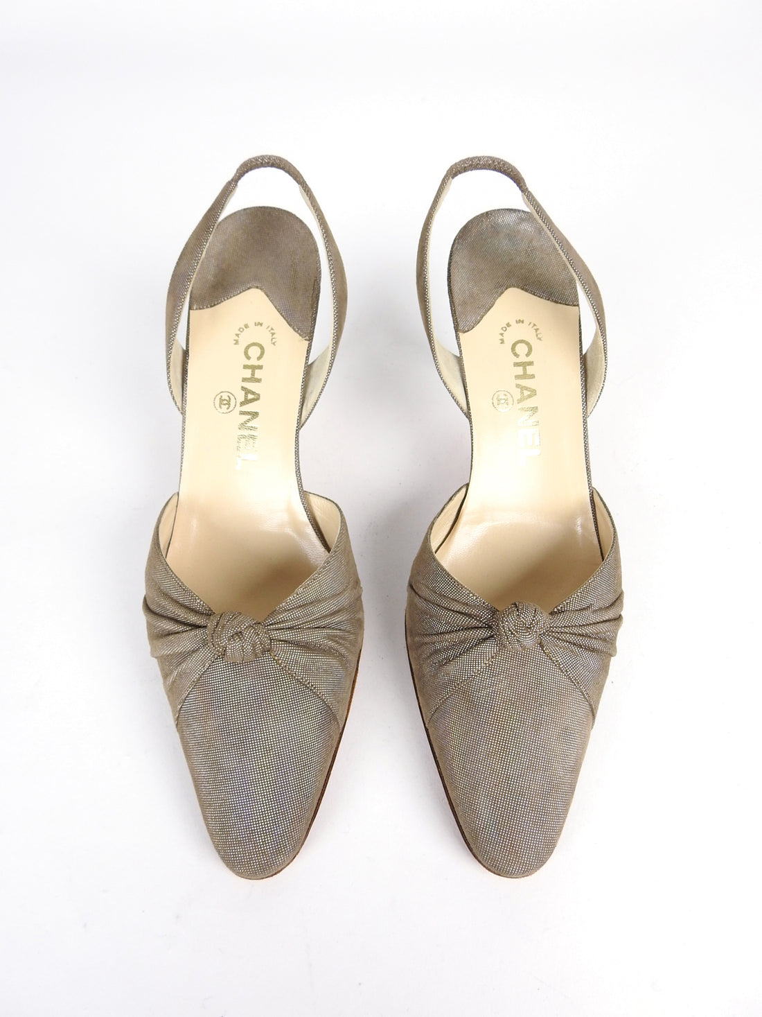 Chanel Taupe Knot Design Slingback Heels - 41