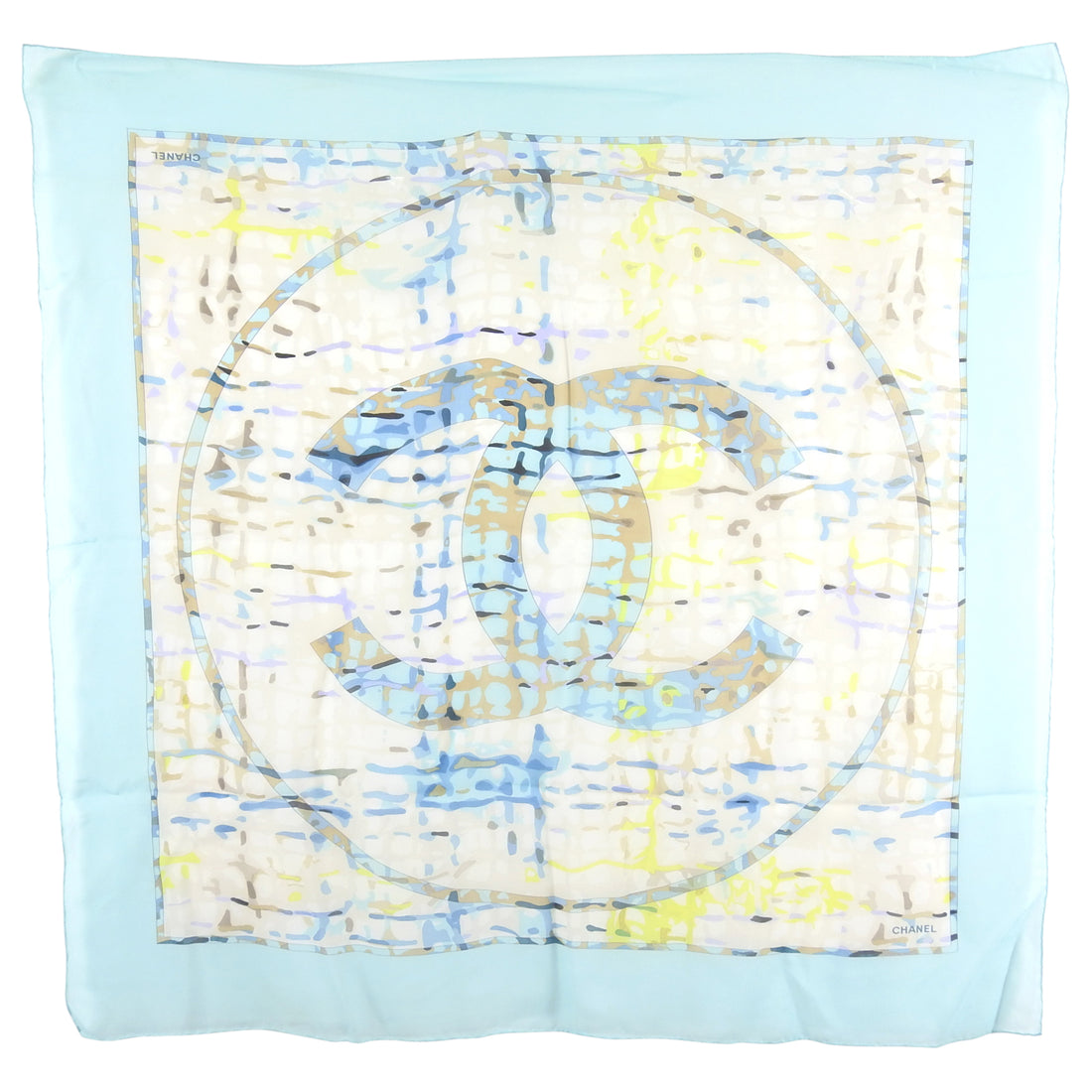 Chanel Turquoise Light Silk CC Logo Abstract Scarf