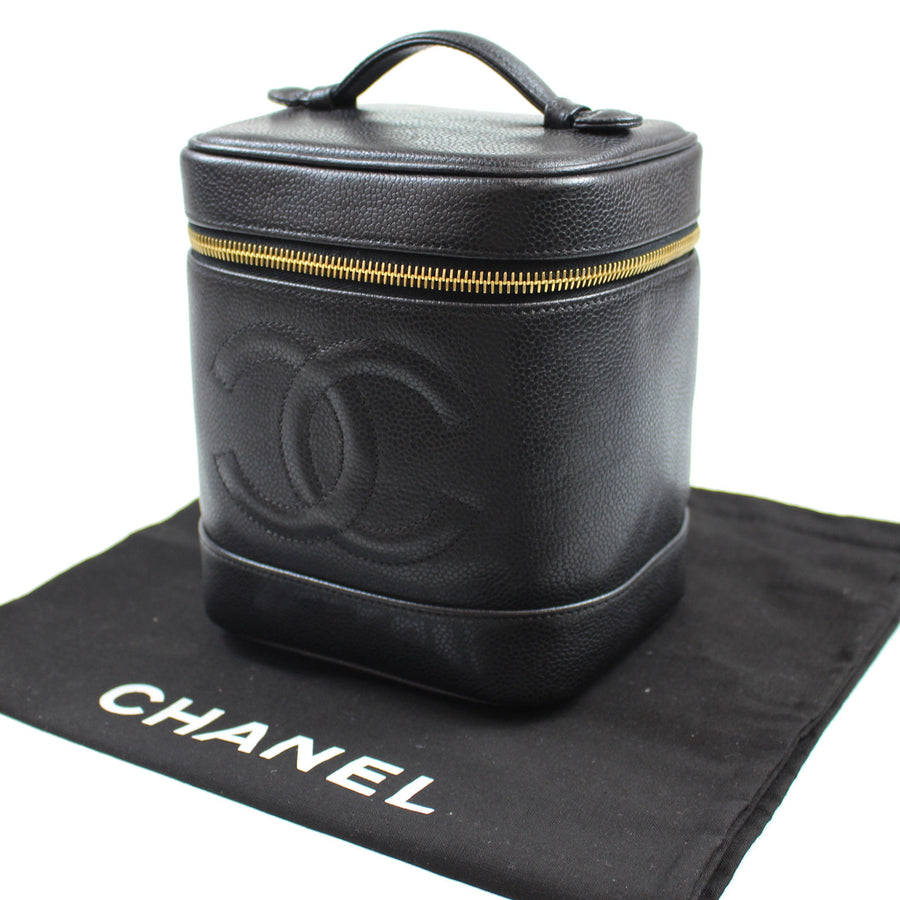 Chanel Vintage 1994 Caviar Leather CC Logo Vanity Travel Case Bag