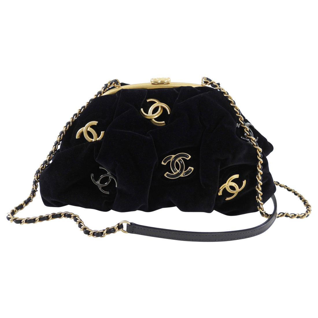 Chanel Black Velvet CC Shoulder Bag / Pouch