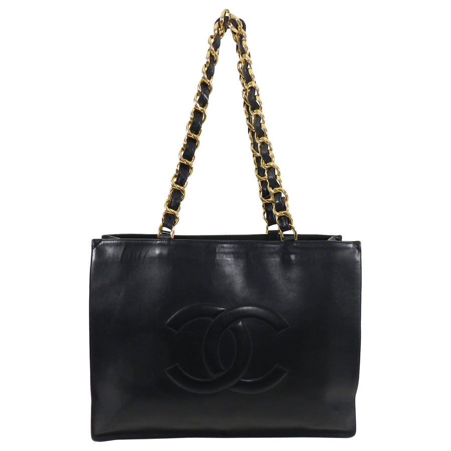 Chanel Vintage 1994 Large Smooth Lambskin CC Tote Bag