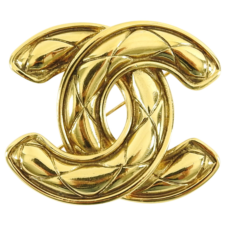 Chanel Vintage 1990's Large Quilted CC Logo Brooch Pin