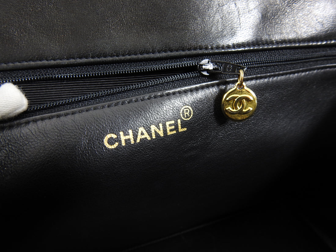 Chanel Vintage 1991-1994 Black Lambskin Quilt Leather CC Tote Bag