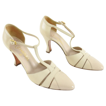 Chanel Vintage 1990's Beige T-Strap Curved Heel Shoes - 40