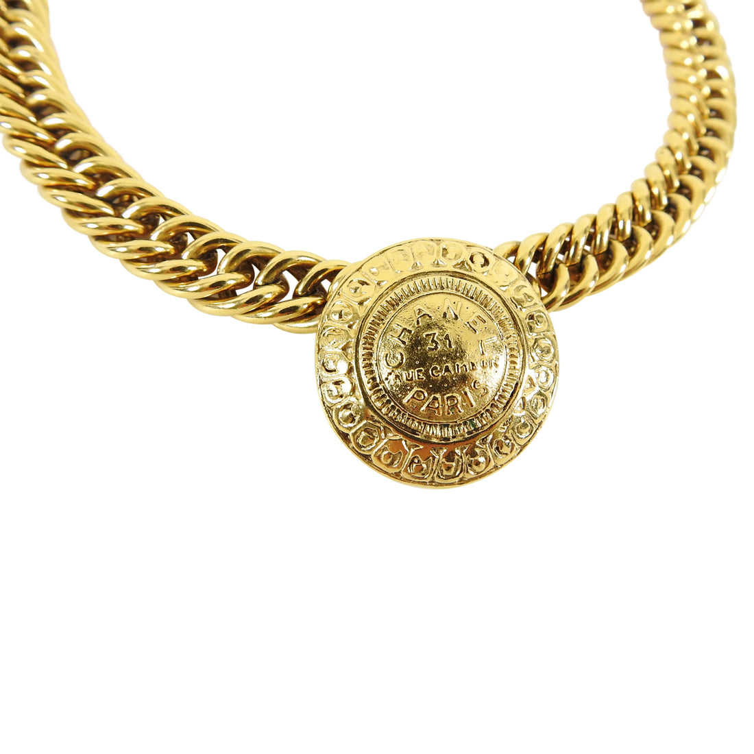 Chanel Vintage 1990's 31 Rue Cambon Medallion Chain Necklace