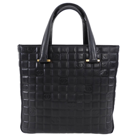 Chanel Vintage Black Leather Square Tote Bag