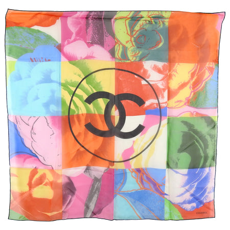 Chanel Multi Color Abstract CC Logo Silk Chiffon Scarf