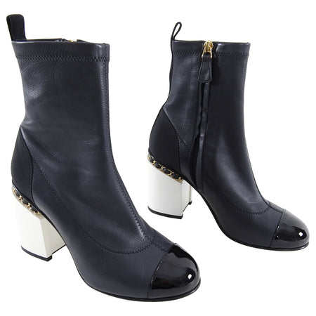 Chanel 16B Black Cap Toe Ankle Boots with White Chain CC Heel - 37.5
