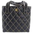 Chanel Wild Stitch Black Calfskin Leather Quilt Small Tote Bag