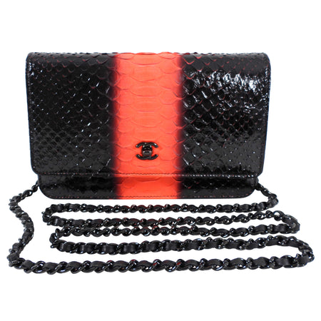 Chanel So Black and Neon Orange Python Wallet on Chain WOC