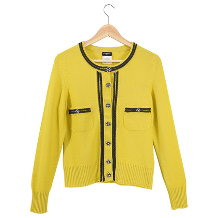Chanel Mustard Yellow Cashmere Cardigan with Jewelled Buttons - 40