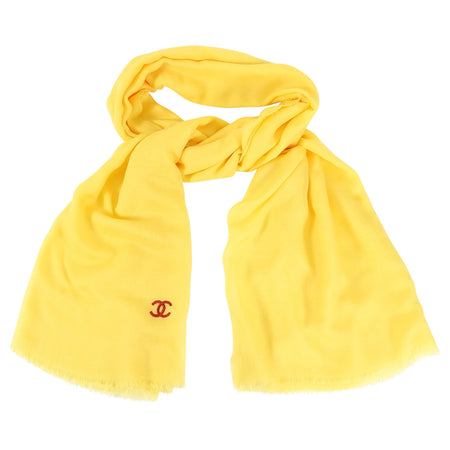 Chanel Yellow CC Logo Cashmere Silk Large Shawl Wrap Scarf