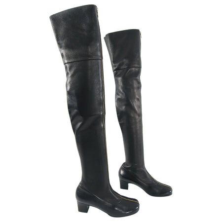 Chanel Thigh High Black Leather Zipper Boots - 40