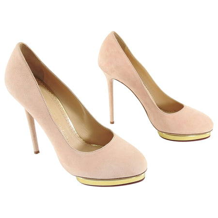 Charlotte Olympia Nude Suede Gold Platform Pumps - 8.5