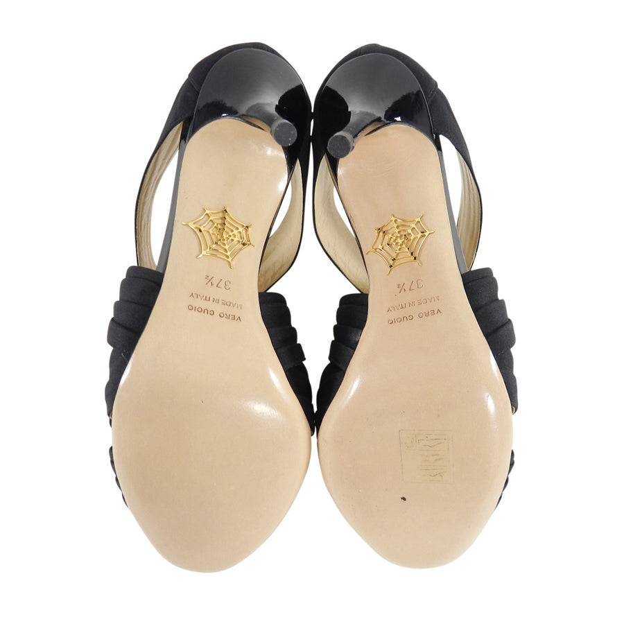 Charlotte Olympia Patricia Black Patent and Fabric Heels - 37.5