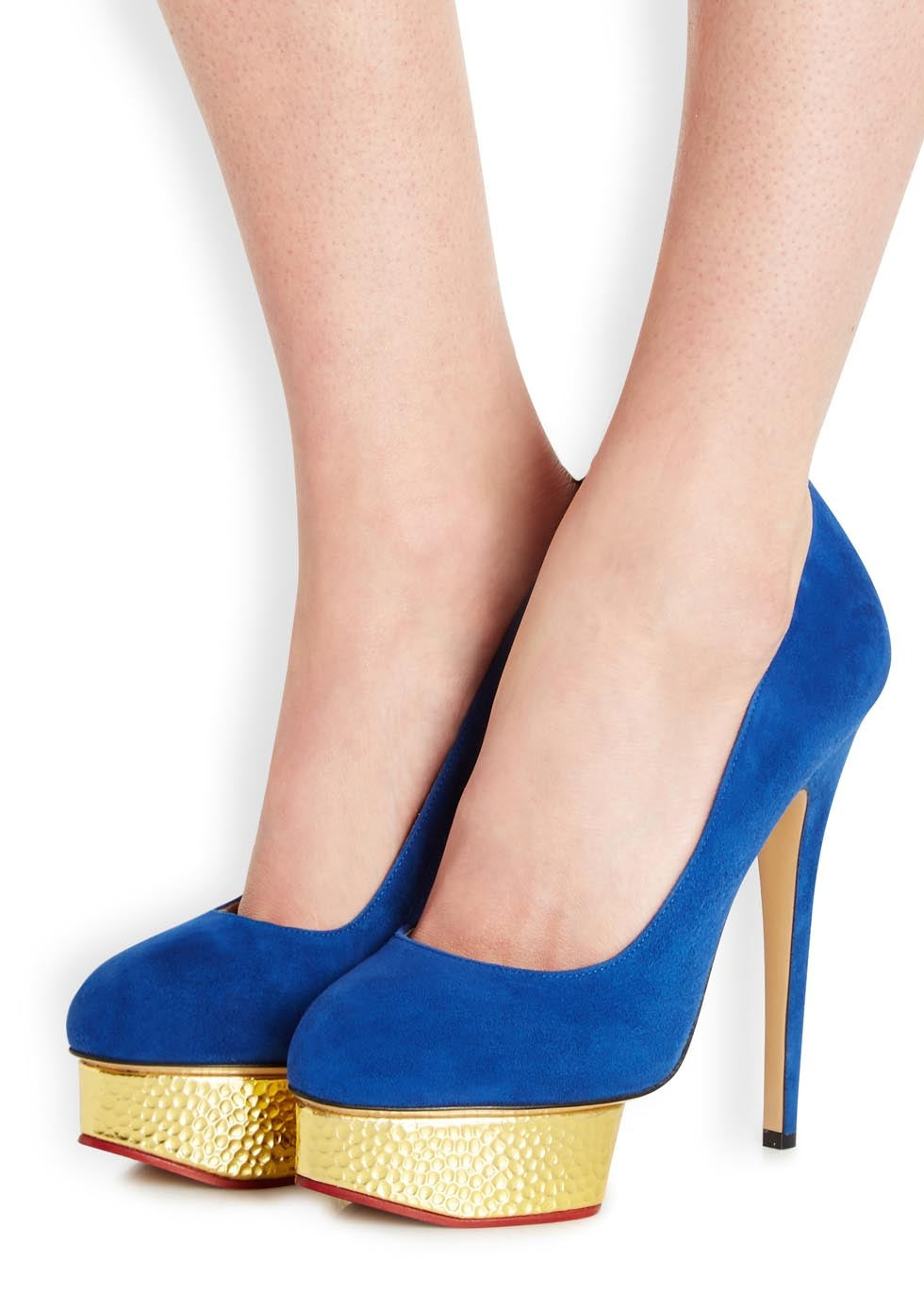 Charlotte Olympia Blue Suede Dolly Platform Pump Heels - 38