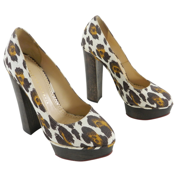 Charlotte Olympia Leopard Canvas and Wood Dolly Platform Heels - 37