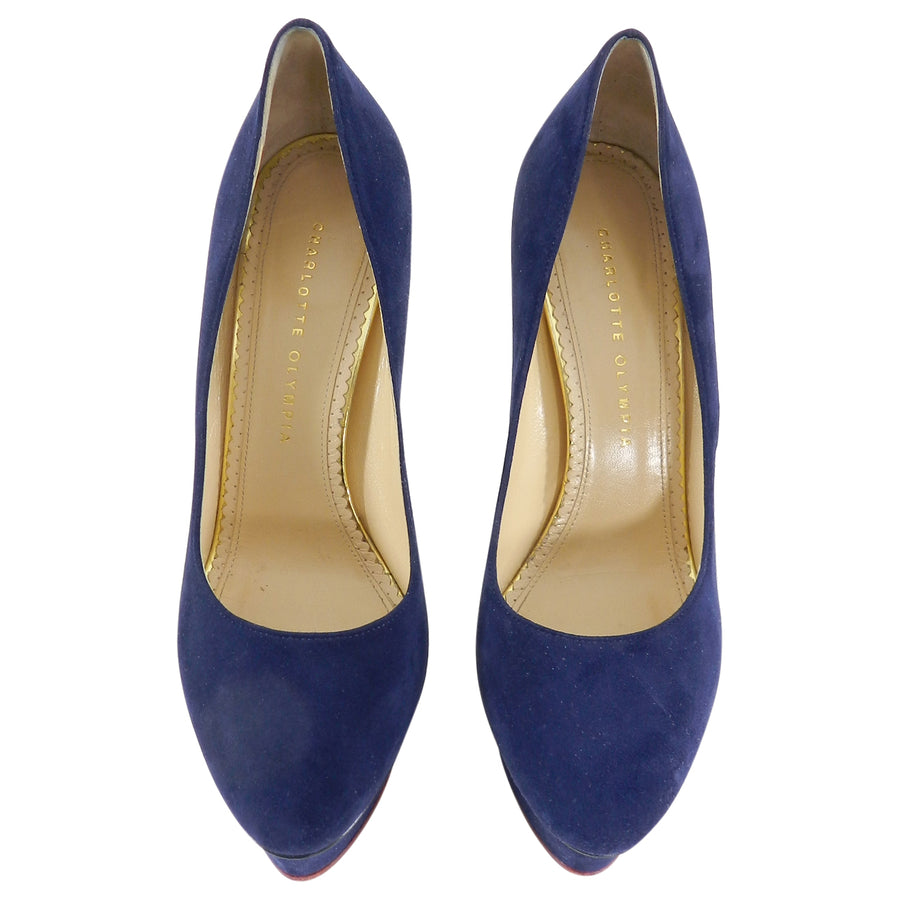 Charlotte Olympia Navy Suede Dolly Platform Pumps - 40