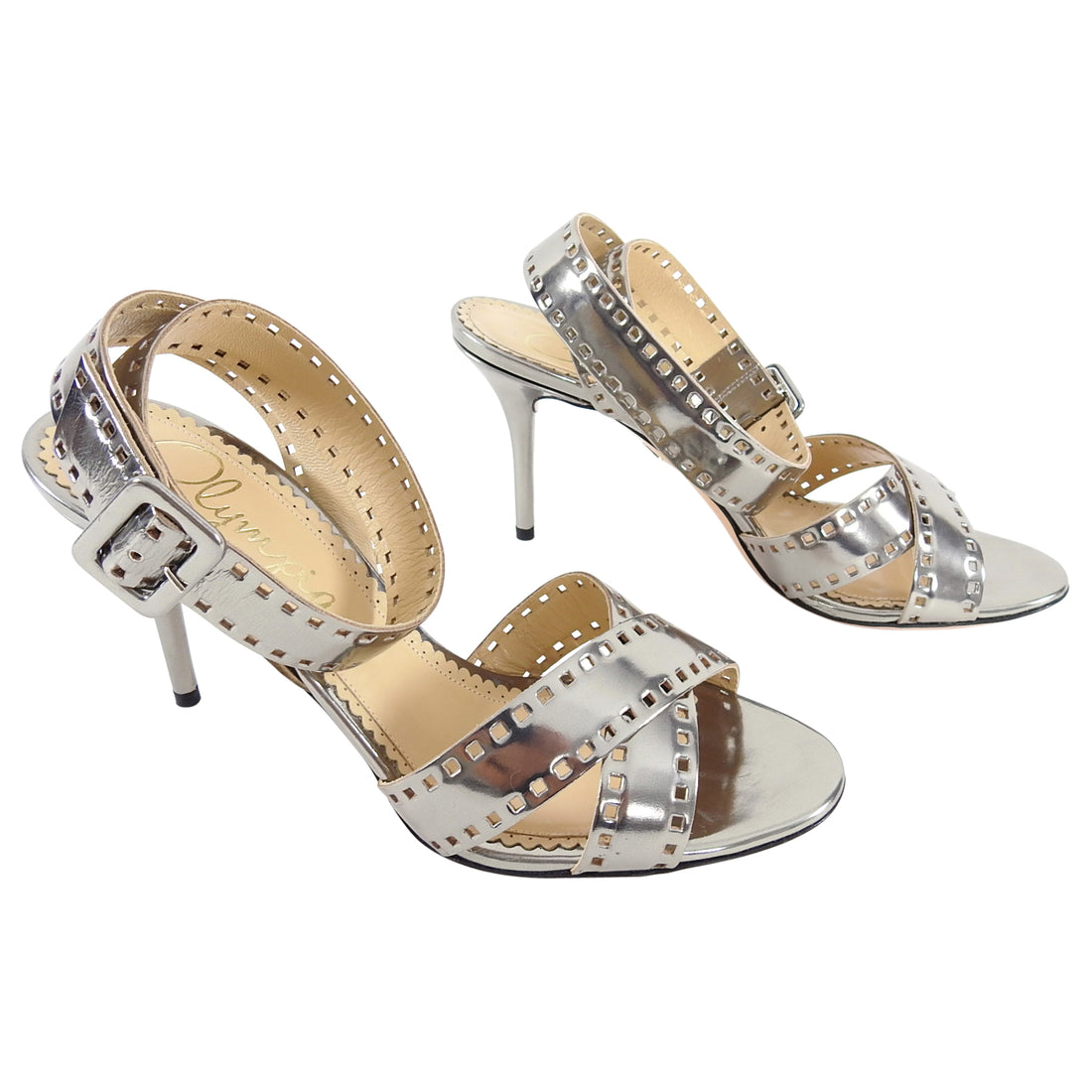 Charlotte Olympia Pewter Perforated Sandals - 38